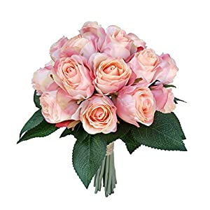 DALAMODA Bride and Groom Holding Rose Flowers,Rosebud Bouquet of 20 Flower Stems,Artificial Silk Flowers Fake Rose,for Wedding,Party,Valentine's Day, Pack 1 (Peach) 27