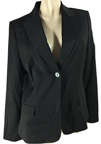 Elie Tahari Women's Ava Pinstripe Wool Blend Suit Jacket Blazer, Black, 12 -