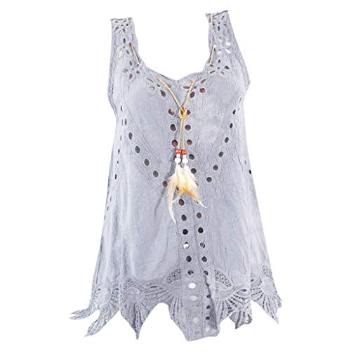 Plus Size Hollow Out Tops, 2019 QIQIU Women's Boat Neck Embroidery Irregular Hem Fashion Sleeveless Summer Vest Grey ()