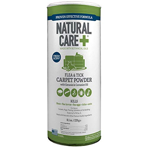 Natural Care Flea and Tick Carpet Powder | Flea Treatment for Rugs, Carpet, or Pet Bedding | 8.1 Ounce Canister (Spray To Get Rid Of Ticks In Yard)