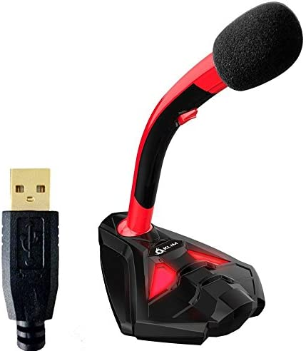 KLIM™ Voice Microfono Desktop USB con Stand per Computer Laptop PC – Microfono Gaming Videogiochi PC PS4 Rosso [ Nouva Versione 2020 ]