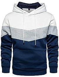 Pullover Hoodie Men Blend Fleece Long Sleeve Sweatshirt with Kanga Pockets