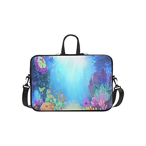 Fish Fun Nautical Porthole Periscope Ocean Theme Pattern Briefcase Laptop Bag Messenger Shoulder Work Bag Crossbody Handbag for Business Travelling