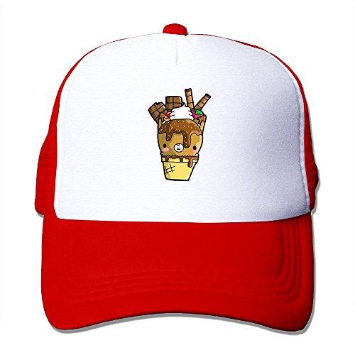 Price comparison product image XSSYZ Cartoon Ice Cream Trucker Hat Mesh Cap Red