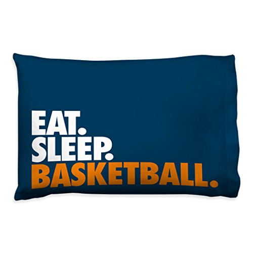 (Eat Sleep Basketball Pillowcase | Basketball Pillows by ChalkTalk Sports | Navy )