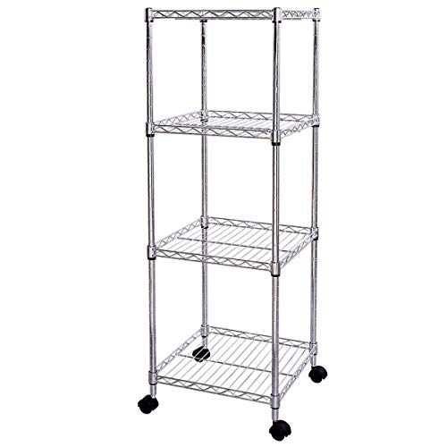 FDInspiration Rolling 4-Tiers Wire Shelf Storage Tower Rack with Ebook by FDInspiration