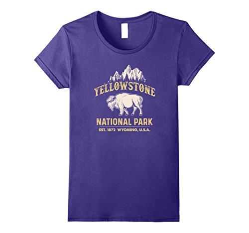 ational Park Wyoming USA Bison Buffalo T Shirt Small Purple (Purple Buffalo)