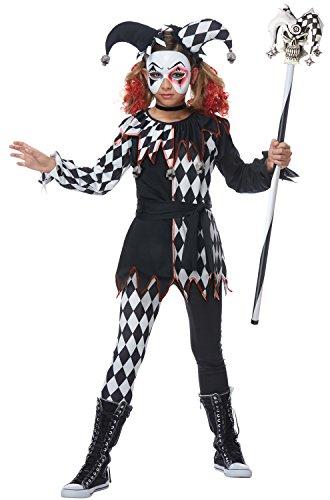 Creepy Jester Girl Kids Costume