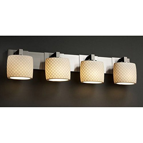 Justice Design Group Limoges 4-Light Bath Bar - Brushed Nickel Finish with Checkerboard Translucent Porcelain Shade by Justice Design Group Lighting