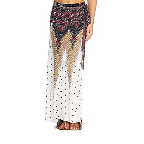 Women Casual Summer Loose Yoga Trousers Baggy Boho Aladdin Harem Skirt (White) ()