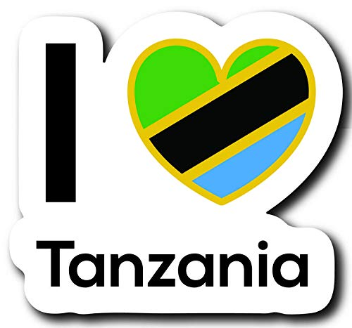 One 5 Inch Decal Love Tanzania Flag Decal Sticker Home Pride Travel Car Truck Van Bumper Window Laptop Cup Wall MKS0244