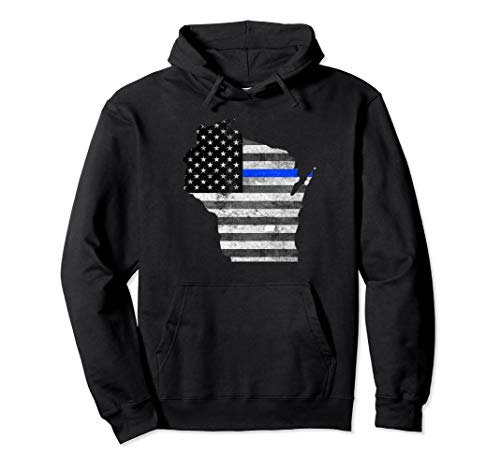 Sweatshirt Adult Police - Police Thin Blue Line Wisconsin USA Flag Map Hoodie