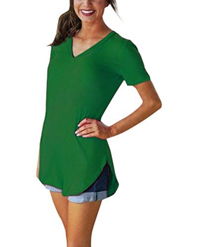 Styledome Women V Neck Casual Blouse Shirts Short Sleeve