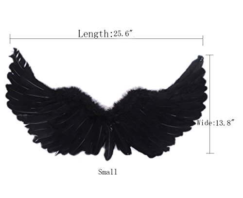 (ROLECOS Spread Feather Angel Wings Halloween Party Accessories Black)