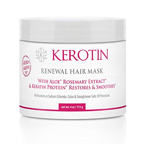 Keratin Renewal Hair Mask - Hydrating & Conditioning Mask to Repair Dry & Damaged Hair - Restores Elasticity & Shine with Keratin Treatment Complex - 4 Fl Oz