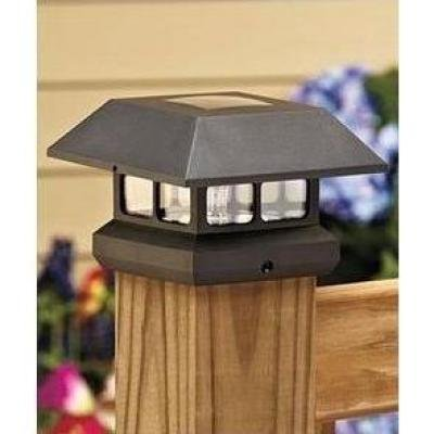 Veranda 4 in. x 4 in. Black Solar-Powered Post Cap for Deck or Fence, Black (12 PACK)