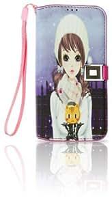 NinjaX+ Galaxy S4 Pretty Girl Print PU Leather Wallet Folio Case w/ Magnetic Clip Button & Interior Credit Card Slots: Winter Beauty