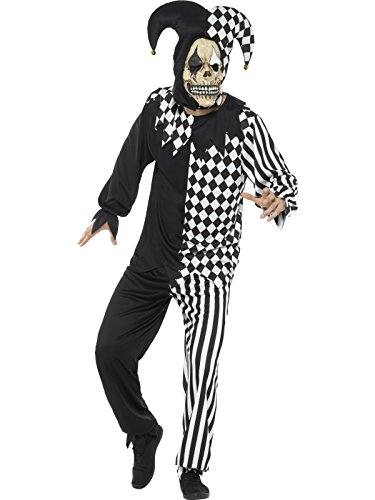 Jester Latex (Smiffy's Men's Evil Court Jester Costume, Black/White, Large)