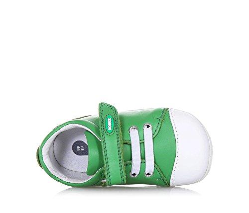 BOBUX - Chaussure Step Up Scribble verte en cuir, made in New Zealand, avec fermeture en velcro, lacets élastiques, bébé garçon