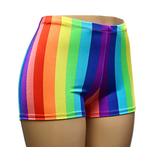 HIGH Waist Rainbow LGBT Pride Spandex Booty Shorts. Adult and Plus Sizes! -