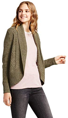 Mossimo Women's Cable Knit Cocoon Cardigan (Olive, Medium)