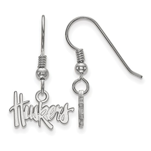 925 Sterling Silver Officially Licensed University College of Nebraska Mini Small Dangle Wire Earrings (10 mm x 11 mm) by Mia's Collection