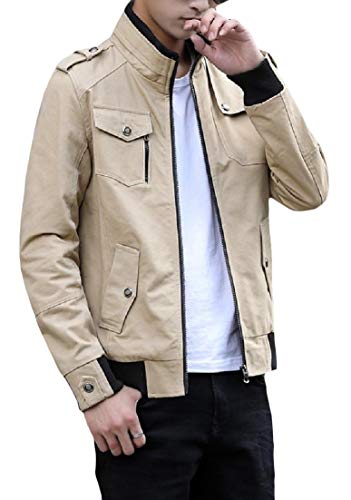 Outwear Oversized Pocket Collar Leisure Cotton Coat Khaki Washed Men's Zip Stand AngelSpace qzRtFw5