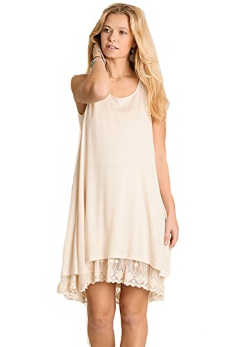(Oh Me Oh My! Sheer Knit Tank Dress Lined with Lace Trim (large, off white))