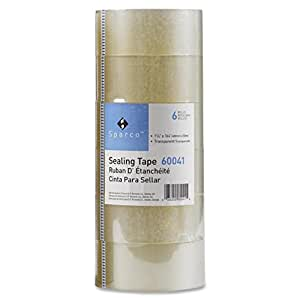 Sparco 6 Rolls Sealing Tape, 48mm x 50m, Transparent, Heavy Duty (330ft)