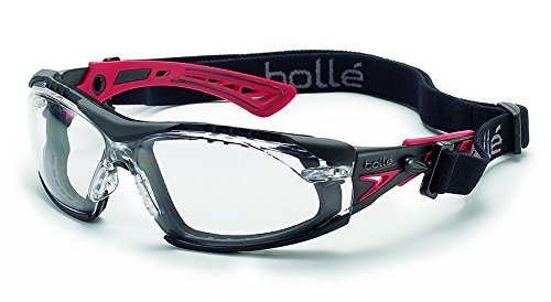 Bolle Safety Rush+ Safety Glasses with Assembled Foam and Strap, Black & Red Frame, Clear - Sport Bolle