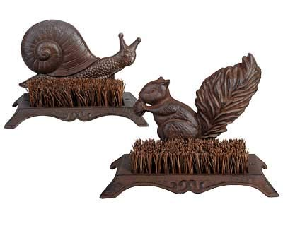 Esschert Design Cast Iron Snail and Squirrel Boot Brushes