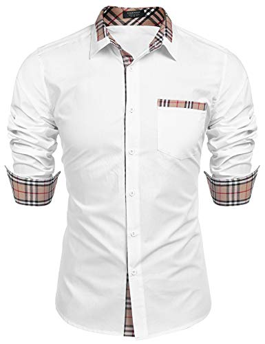 (COOFANDY Men's Cotton Dress Shirt Long Sleeve Regular Fit Button Down Plaid Collar Shirt with Pocket)