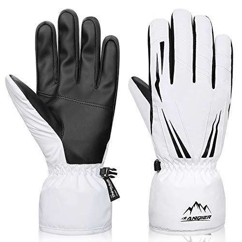 LANYI Women Gloves Winter Waterproof Thermal Mens Gloves Thinsulate Ski Snowboard Driving Outdoor Warm Cold Weather Snow Gloves White (White, M) (Best Ski Gloves Under 50)
