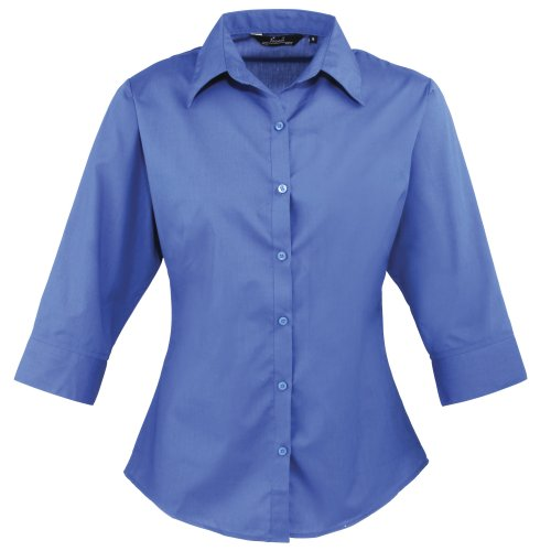 Premier Workwear Ladies Poplin Blouse 3/4 Sleeved, Blusa para Mujer Azul claro