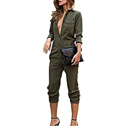 Sexyshine Women's Casual Long Sleeve Button Down Jumpsuit Romper Overalls(AG,L)