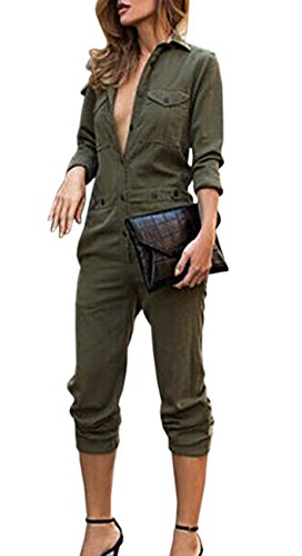 (Sexyshine Women's Casual Long Sleeve Button Down Jumpsuit Romper Overalls(AG,XL))
