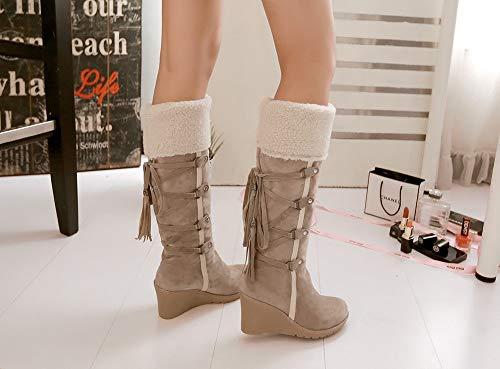 Daim 34 Bottine Neige Marron 7cm Coton Botte Noir Fourrure Talon Haute Kaki Femme Lacet Femmes Beige Boots Chaudes Longue 43 Montante Hiver Compensées IHIO1F