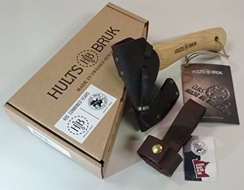 Hults Bruk Almike 16 Inch Hatchet with Sheath and Duluth Pack Axe Holder Bundle by Hults Bruk