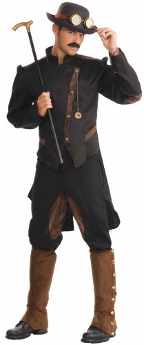 Men's Steampunk Gentlemen Costume, Brown/Black, One