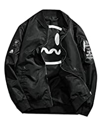 Xswsy XG-CA Mens Long Sleeve Slim Zip up Smiley Print Baseball Bomber Jacket