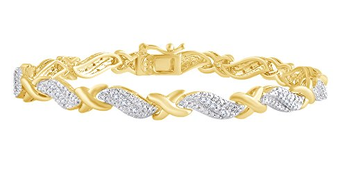 (0.25 CT Round White Natural Diamond XO Tennis Bracelet In 14k Yellow Gold Over Sterling Silver- 8.5