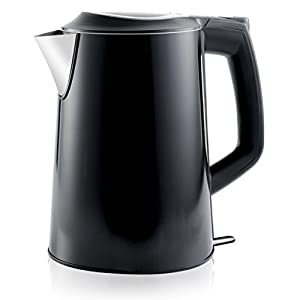 Stainless Steel Electric Kettle (Cordless) w/ 100% Plastic-Free Interior | Insulated Double Walls | Electronic Hot Water Heater Pot with Cool Touch, Boil Dry Protection & More (1.9Qrt/1.8L) (Black)