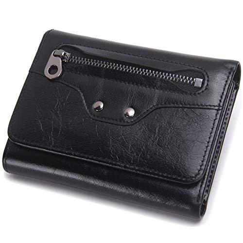 Hommes Black Cuir Avec fonction Bourse Unie Multi Porte monnaie Section Zip Pli Triple Portefeuille Pour Courte Couleur Hinyyee AqtpnTEwq