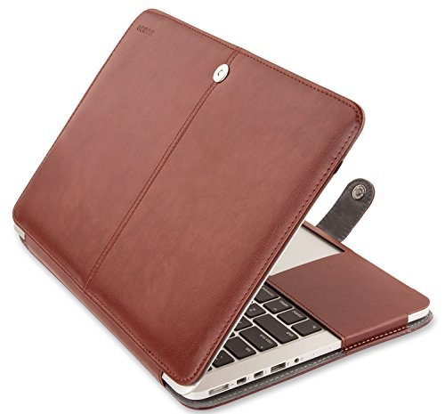 MOSISO PU Leather Case Only Compatible with [Previous Generation] MacBook Pro Retina 15 Inch A1398, Premium Quality Book Folio Protective Cover Sleeve with Stand Function, Brown
