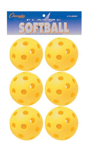 Champion Sports Yellow Plastic Softballs: Hollow Wiffle Balls for Sport Practice or Play - 6 Pack by Champion Sports