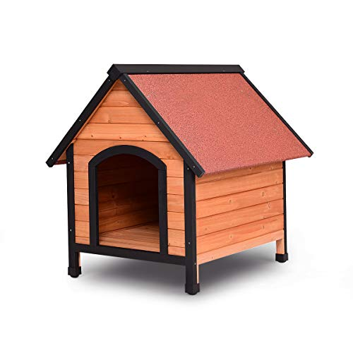 Tangkula Dog House, Wooden Pet Kennel, Outdoor Weather Waterproof Pet House, Natural Wooden Dog House Home with Reddish Brown Roof, Pet Dog House (Small)