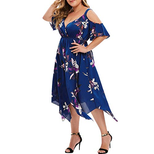 aihihe Women's Summer Dress Casual Loose Beach Cover Up Long Plain Print Cami Maxi Dresses with Pocket Blue