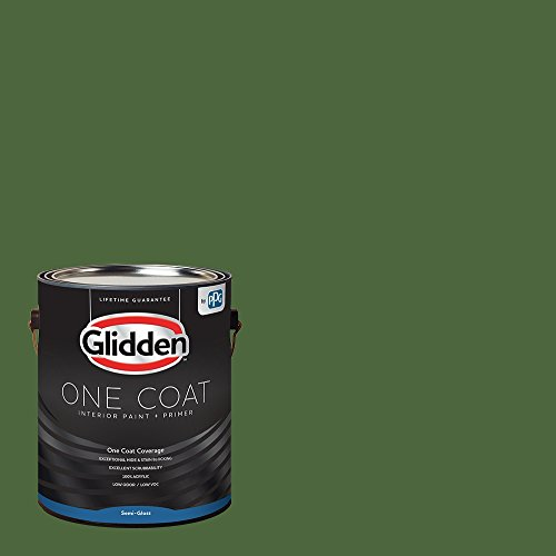 Glidden Interior Paint + Primer: Green Interior Paint /Mountain Forest, One Coat, Semi-Gloss, 1 Gallon