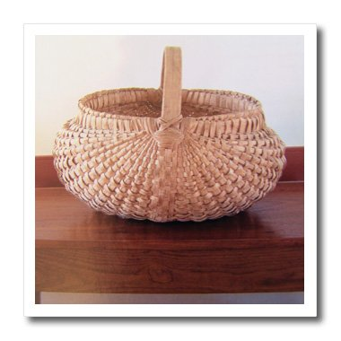 3dRose ht_21489_3 An Old Wicker Basket-Iron on Heat Transfer for White Material, 10 by 10-Inch (Wicker Sewing Baskets)