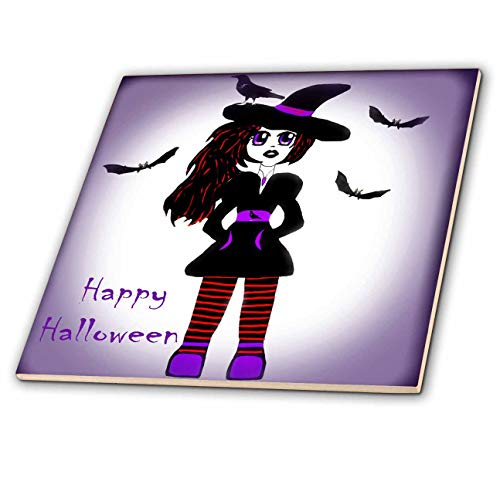 3dRose WhiteOaks Photography and Artwork - Anime Designs - Little Witch Halloween is an Anime Character I Created and Drew - 4 Inch Ceramic Tile (ct_193042_1) -